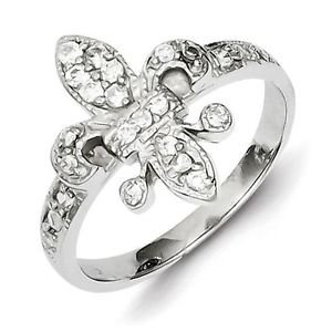 SOLID POLISHED STERLING SILVER CZ FLEUR DE LIS RING / BAND -  SIZE 7