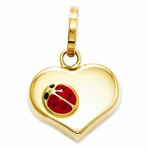 14K YELLOW GOLD HEART WITH LADYBUG CHARM / PENDANT  -  MADE IN ITALY - .5 GRAM