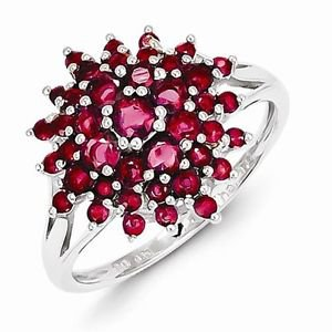 STERLING SILVER 1.2 CT NATURAL RUBY CLUSTER RING  JULY BIRTHSTONE  - SIZE 9