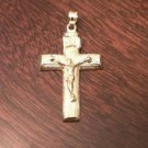 14K SOLID YELLOW GOLD INRI CRUCIFIX CROSS CHARM / PENDANT  RELIGIOUS - 4.5 GRAMS