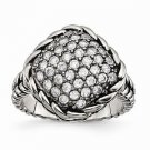CHISEL BRAND POLISHED AND ANTIQUED STAINLESS STEEL SQUARE WITH CZ  RING - SIZE 8