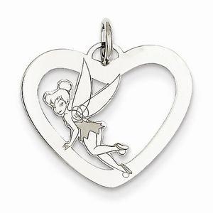 STERLING SILVER DISNEY TINKER BELL HEART CHARM