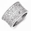 POLISHED STERLING SILVER VINTAGE STYLE CLUSTER CZ RING / BAND - SIZE 6