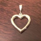 14K YELLOW GOLD SOLID POLISHED HEART CHARM PENDANT - 5.2 GRAMS