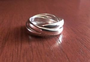SOLID STERLING SILVER ROLLING BAND RING - CONTEMPORARY- STYLISH- SIZE 7