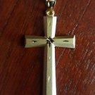 14K SOLID YELLOW GOLD SATIN  CROSS RELIGIOUS  CHARM PENDANT - 4.6  GRAMS