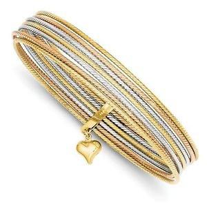 14K HEAVY TRI-COLOR GOLD 7 BANGLES SLIP-ON BANGLE BRACELET