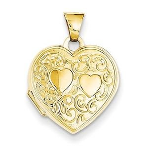 14K YELLOW GOLD SMALL HEART SHAPED W TEXTURED HEARTS DESIGN  LOCKET - 0.7 GRAMS