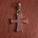 SMALL STAINLESS STEEL POLISHED CROSS WITH  CZ  CHARM W/ LOBSTER CLASP