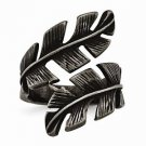 CHISEL BRAND STAINLESS STEEL ANTIQUED STYLE LEAF / LEAVES  WRAP RING -SIZE 7