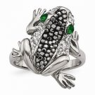 CHISEL BRAND STAINLESS STEEL POLISHED WITH CRYSTALS  FROG  RING  -  SIZE 6