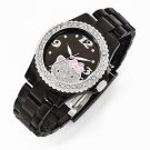 OFFICIALLY LICENSED HELLO KITTY BLACK DIAL CRYSTAL BEZEL ACRYLIC STRAP WATCH