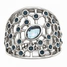 CHISEL BRAND STAINLESS STEEL MODERN BLUE GLASS AND CRYSTAL RING  -  SIZE 9