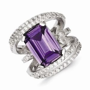BEAUTIFUL STERLING SILVER PURPLE AND CLEAR RECTANGULAR STONE CZ RING- SIZE 7