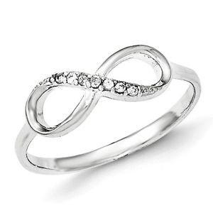 SOLID POLISHED STERLING SILVER CZ INFINITY RING / BAND -  SIZE 7
