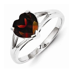 STERLING SILVER POLISHED HEART SHAPED GARNET  RING - SIZE 7