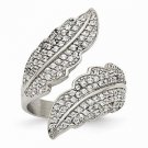 CHISEL BRAND POLISHED STAINLESS STEEL LEAF / LEAVES DESIGN  WITH CZ RING  SIZE 9
