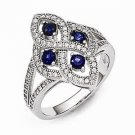 BRILLIANT EMBERS ANTIQUE STYLE STERLING SILVER  CZ RING-  84 STONES -SIZE 8