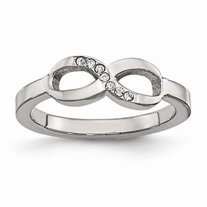 CHISEL BRAND STAINLESS STEEL POLISHED INFINITY SYMBOL WITH CZ  RING -  SIZE 6