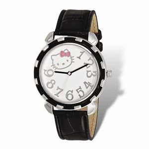 OFFICIALLY LICENSED HELLO KITTY BLACK ENAMEL FAUX LEATHER  STRAP WATCH
