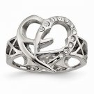 STAINLESS STEEL POLISHED CONTEMPORARY HEART WITH CZ  RING -  SIZE 6