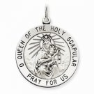 ANTIQUED STERLING SILVER QUEEN OF THE HOLY SCAPULAR  MEDAL CHARM PENDANT-6.1 GMS