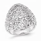 BEAUTIFUL SOLID STERLING SILVER POLISHED FILIGREE RING - SIZE 7