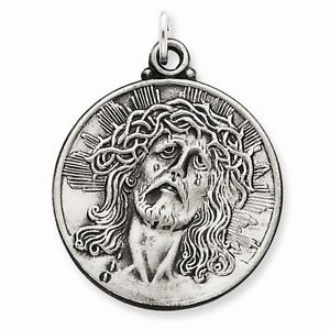 ANTIQUED STERLING SILVER HEAD OF JESUS  RELIGIOUS PENDANT CHARM - 8.5 GRAMS