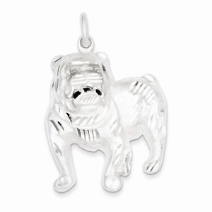 STERLING SILVER ENGISH BULLDOG / BULL DOG  PENDANT / CHARM -  11.5 GRAMS