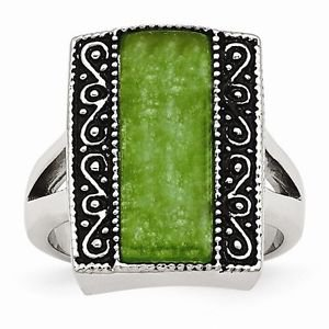 STAINLESS STEEL ANTIQUED SYNTHETIC JADE RECTANGULAR  RING -  SIZE 8