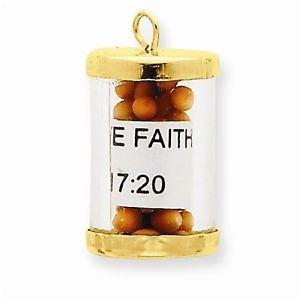 14K GOLD MUSTARD SEED HAVE FAITH MATTHEW 17:20 CHARM PENDANT RELIGIOUS 1.9 GRAMS