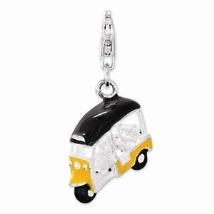 SMALL STERLING SILVER POLISHED ENAMELED 3-D GOLF CART CHARM W/ LOBSTER CLASP