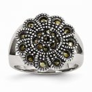 ANTIQUED STAINLESS STEEL TEXTURED FLOWER MARCASITE  RING -  SIZE 6