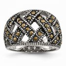 ANTIQUED STAINLESS STEEL TEXTURED WEAVE DESIGN  MARCASITE  RING -  SIZE 6