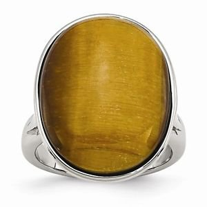 POLISHED STAINLESS STEEL CABOCHON OVAL SHAPED  TIGERS EYE RING  -  SIZE 8