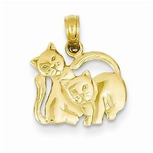 14K YELLOW GOLD SMALL HOLLOW TWO KITTENS / KITTEN /  CAT PENDANT - 1.1 GRAMS