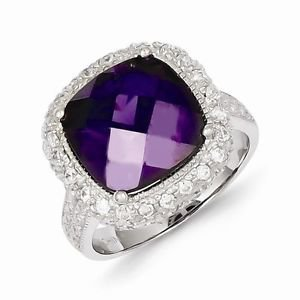 BEAUTIFUL STERLING SILVER CHECKERBOARD CUT PURPLE CZ SQUARE HALO RING - SIZE 7