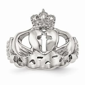 CHISEL BRAND  STAINLESS STEEL CLADDAGH WITH CROSS  WEDDING BAND / RING- SIZE 13