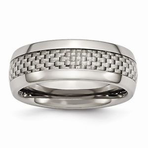 8MM  POLISHED TITANIUM  GREY CARBON FIBER  BAND/ RING  - SIZE 9.5