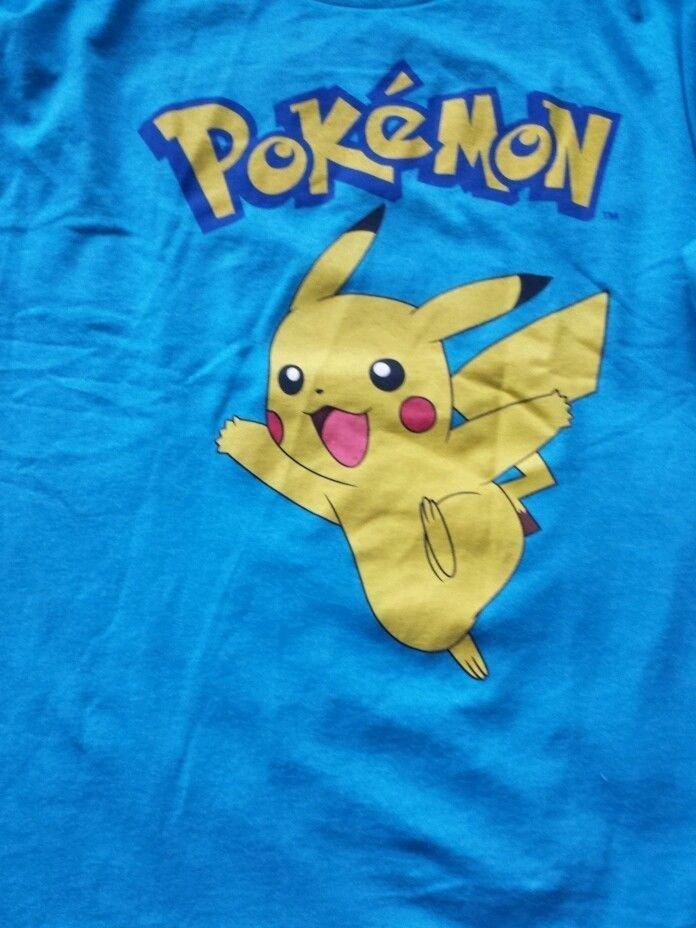 Tee shirt , Pokemon men's XL tshirt , Blue, Polyester and long Sleeve Nintendo