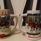 Vintage 1987 & 1989 Budweiser Christmas Holiday Steins Mugs