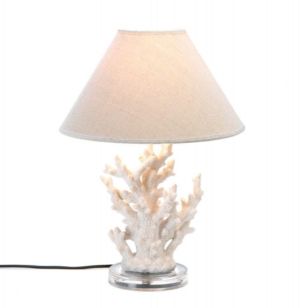 "White Coral Table Lamp - Polyresin glass - 13 3/4"" x 13 3/4"" x 18"