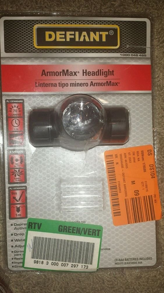 Defiant 3.43 in. Armormax Headlight Forehead Flashlight 809-3712-D LED