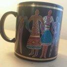 Laurel Burch Familia del , Mundo coffee mug - Made in Japan 1988 Laure Burch