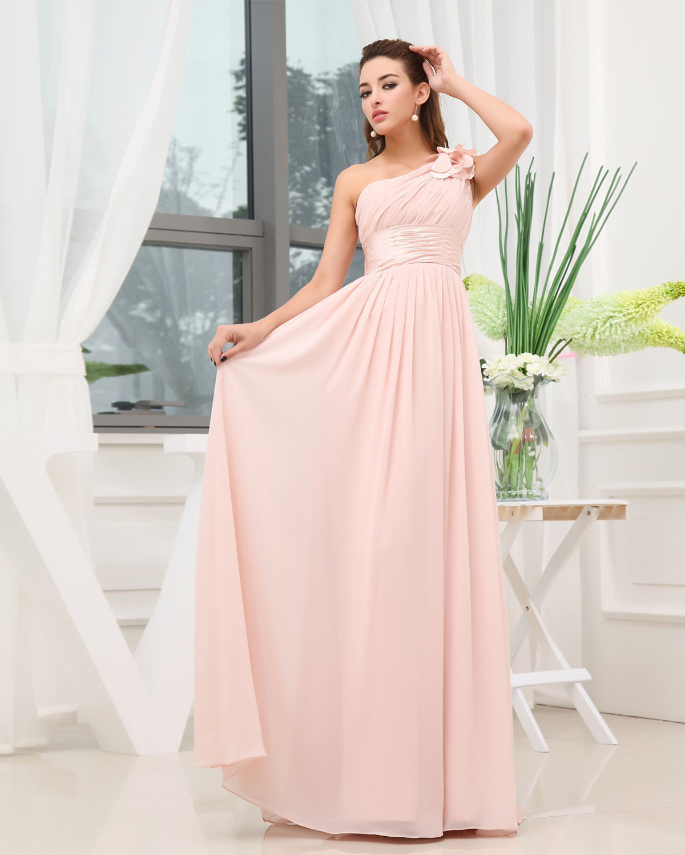 One Shoulder Pleated Flower Sleeveless Zipper Floor Length Chiffon Woman Bridesmaid Dress