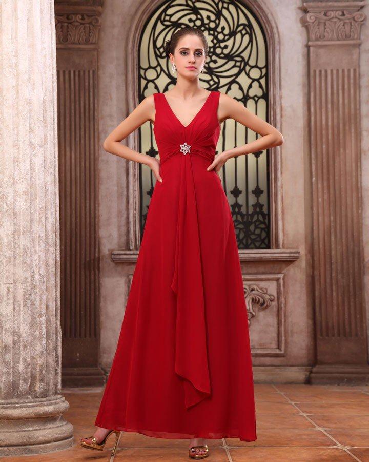 Elegant Chiffon Ruffles V Neck Floor Length Bridesmaid Dress Gown