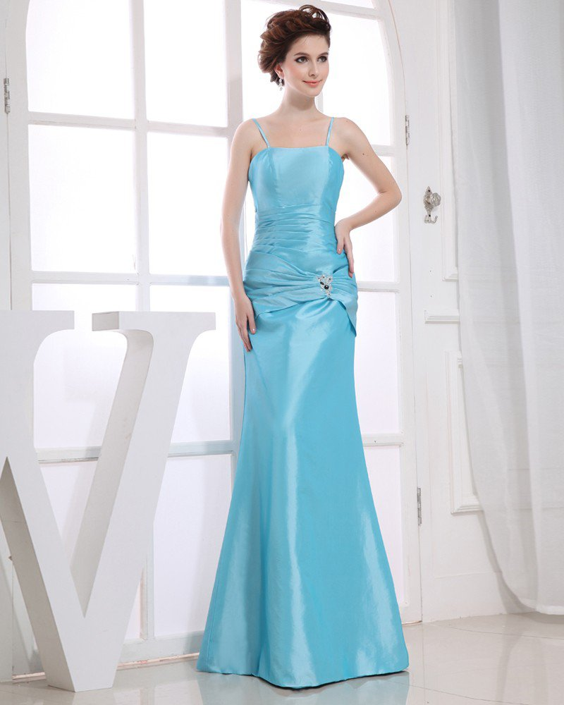 Strapless Neckline Floor Length Sleeveless Satin Pleat Beading Empire Bridesmaid Dresses