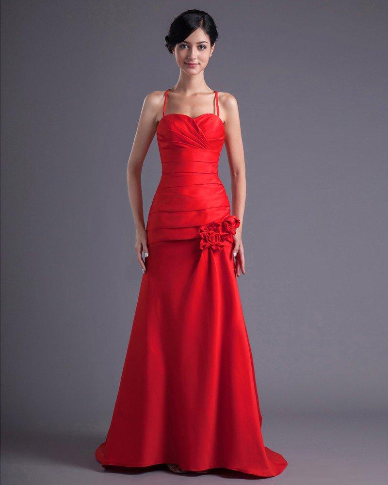 Fashion Satin Pleated Flower Spaghetti Strap Floor Length Bridesmaid Dress