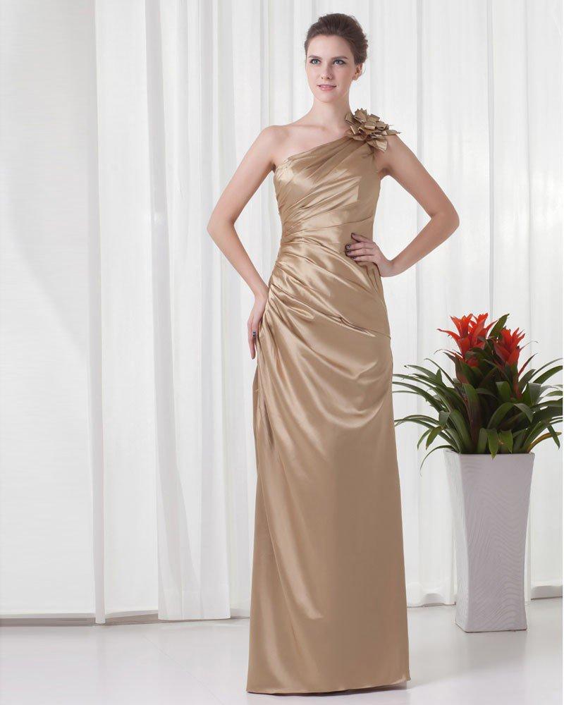 Elegant Ruffle Sloping Flower Decoration Floor Length Charmeuse Bridesmaid Dress