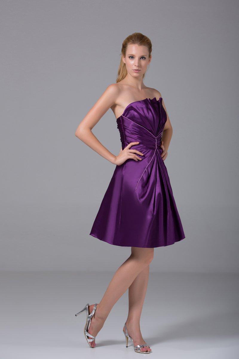 Modest Strapless Thigh Length Beading Pleated Imitation Silk Bridesmaid Dress